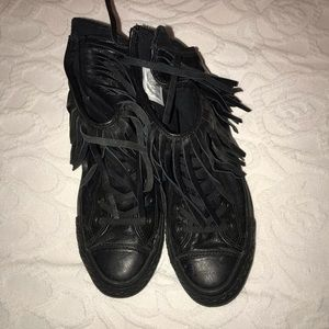 Leather fringe high top converse